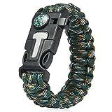 Outdoor Survival Gear Escape Bracelet With 5 Functions (Flint Whistle Compass Scraper)