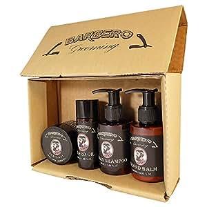 Barbero Grooming Beard Care Kit 4 pcs - Oil, Balm, Shampoo, Wax