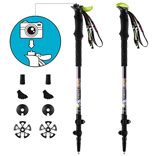 Trekking Poles, Canway Lightweight Carbon Fiber 7 oz ea, Camera Mount, Shock-Absorbent, Quick Locks, Quick-Dry Wrist Straps, Walking/Hiking Sticks for Women Men Kids by Canway