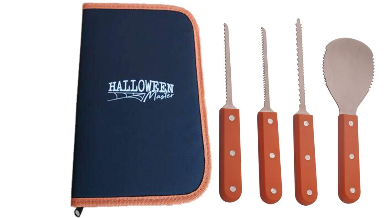 Pumpkin Carving Kit for Halloween - 4 Piece, Ultimate Professional Tools, Stainless Steel Heavy Duty - Storage Carrying Case