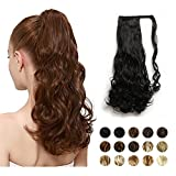"""FEHSFEN 21"""" Curly Wrap Around Ponytail Hair Extensions Long Wavy Clip in Synthetic Hair Ponytail Hairpieces for Women(Off Black)"""