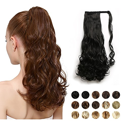 """FEHSFEN 21"""" Curly Wrap Around Ponytail Hair Extensions Long Wavy Clip in Synthetic Hair Ponytail Hairpieces for Women(Off Black) by FESHFEN"""