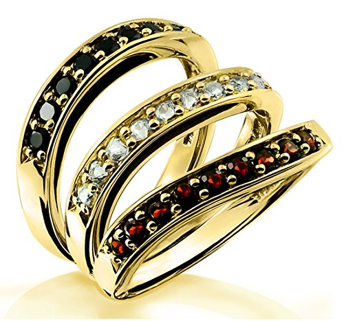1.04 Carats Black Onyx, White Beryl, and Garnet Set of 3 Stack Rings in Sterling Silver with Gold Plated