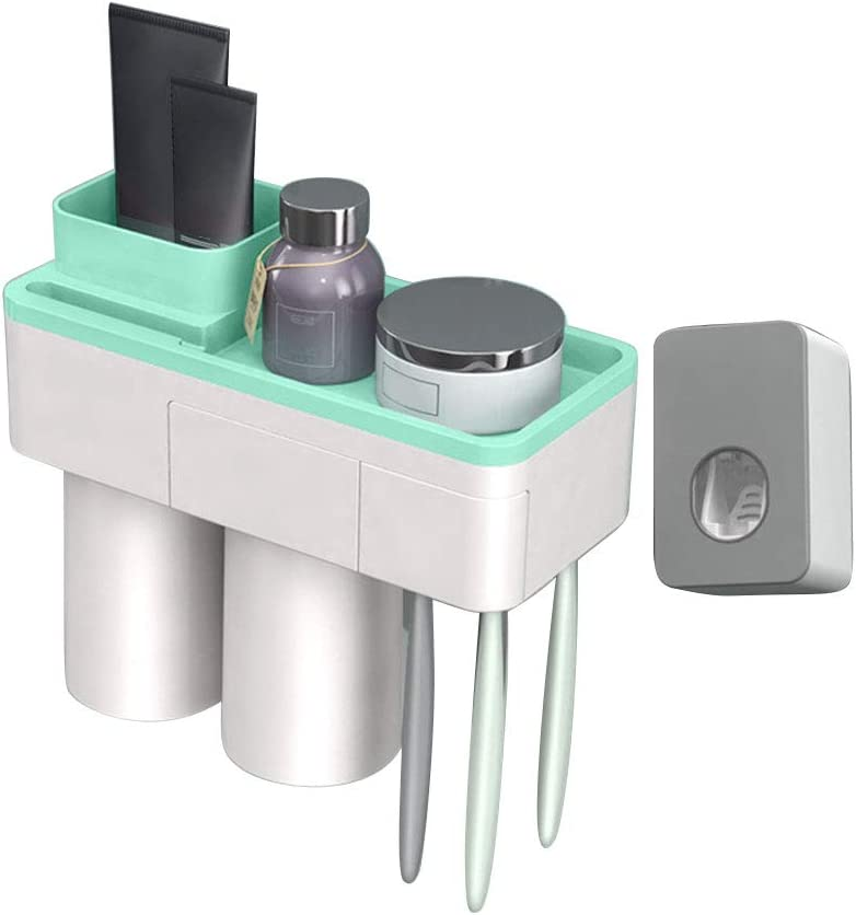 yehhad Toothpaste Dispenser and Tooth Brush Holder Set Magnetic Adsorption Toothbrush Holder Gargle Cup Wall Mounted Storage Rack