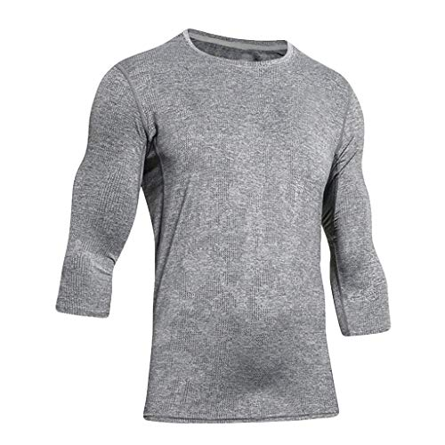 Hoolick,men's Fitness Elastic Fast-drying Sports Three Quarter Sleeve Tops ()