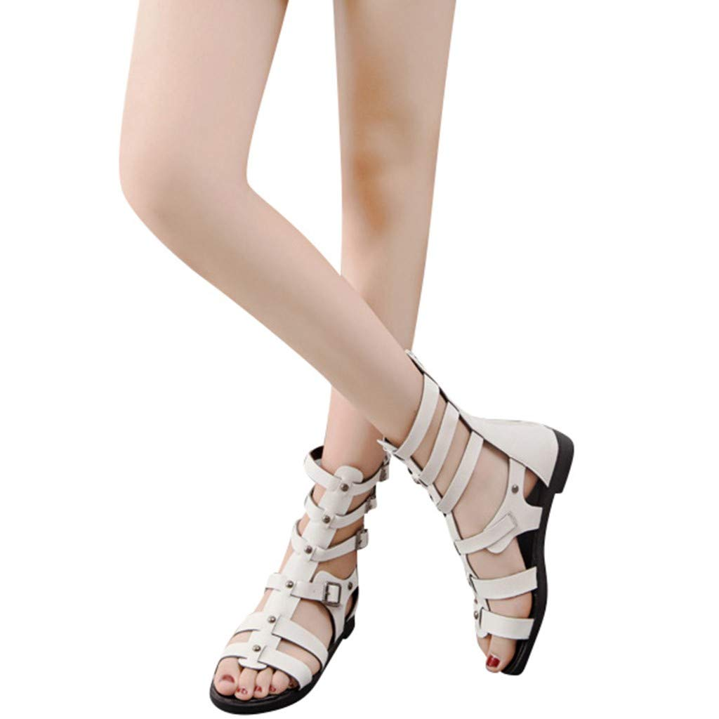 Sandals for Women THENLIAN Women Open Toe Metal Zipper Peep Toe Roma Style Sandals Party Casual Shoes(38, White)