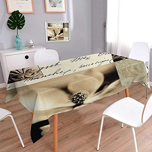 (PINAFORE HOME Square Solid Tablecloth Flaxen Silhouette by Aparicio Stain Resistant, Washable, Liquid Spills Bead up/Oblong, 60 x 120 Inch)