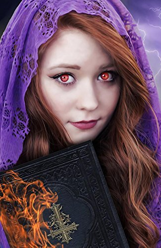 LAMINATED 24x36 inches POSTER: Witch Female Girl Fantasy Girl Witch Apprentice Mystery Cute Young Beauty Fantasy Character Lady Fantasy Dark Evil Book Flames Halloween Darkness Witchcraft -