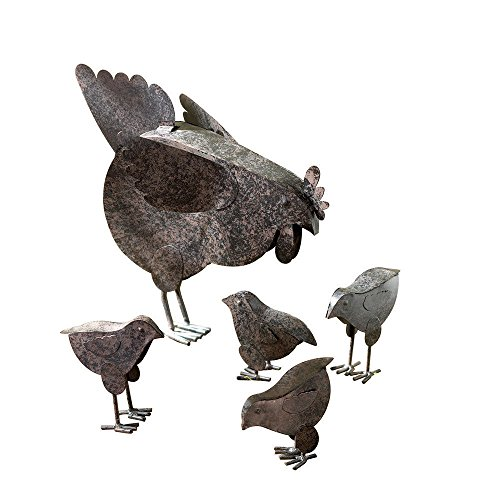 Yard Art Set - Moon_Daughter 5 PC Set Country Hen with Chicks Sculpture Metal Patio Garden Decor Chicken Yard Art