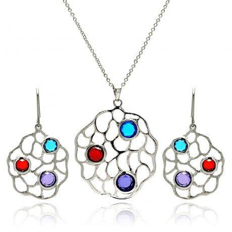 Brass Cubic Zirconia Necklace Set