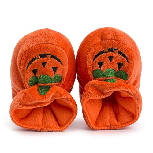Newborn Toddler Baby Girls Boys Halloween Shoes Soft Sole Cute Pumpkin Moccasins (Orange, Age:6-12M)
