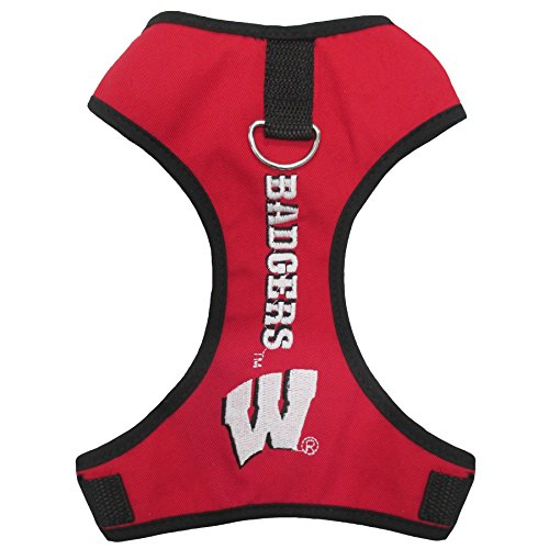 Pets First Collegiate Pet Accessories, Pet Harness, Wisconsin Badgers, Large ()