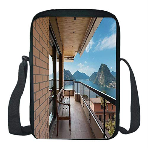 Lugano Messenger - Modern Decor Print Kids Crossbody Messenger Bag,Lugano Lake Panoramic View From Terrace of Apartment Mountains and Sea for Boys,9''H x 6''L x 2''W