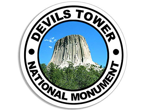 (MAGNET 4x4 inch Round DEVILS TOWER National Monument Sticker -wy travel hike rv wyoming Magnetic vinyl bumper sticker sticks to any metal fridge, car, signs)