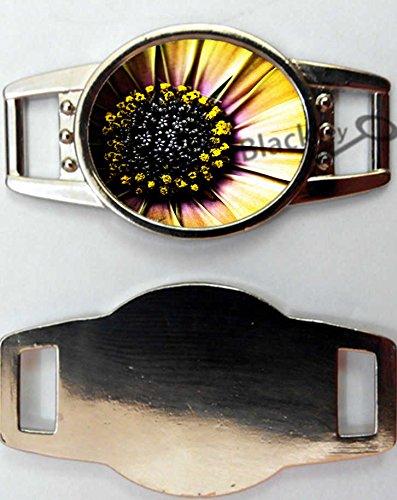 BlackKey Daisy Flower & Ladybug & Butterfly Pattern Oval Metal Charms for Shoelaces Bracelets Decoration, Set of 2 -491