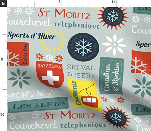 - Apline Skiing Fabric - Retro Ski Badges Snow Winter Skiiing Sports Alps Vintage Swiss Snowflake Print on Fabric by The Yard - Sport Lycra for Swimwear Performance Leggings Apparel Fashion