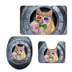 STARTERY Fashion Cat Clock Bathroom Rug Set 3 Piece Contour Mat+Lid Toilet Cover+Bath Home Entry Way Doormat