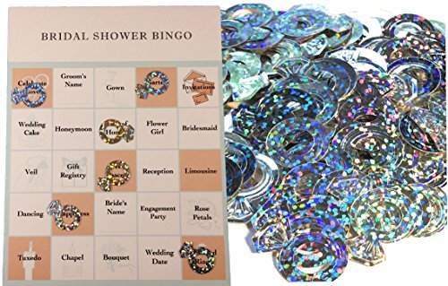Bridal Shower Party Game Set - Bingo - Engagement Diamond Ring Shaped Bingo Chips that Doubles as Wedding Table Confetti - Bingo Cards for 24 -