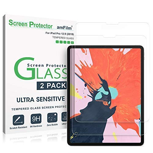 amFilm Glass Screen Protector for iPad Pro 12.9 inch (2 Pack) (2018 Model, 3rd Generation Only), Tempered Glass, Ultra Sensitive, Face ID and Apple Pencil Compatible (2 Pack) (Screen Protector For Apple I Pad)