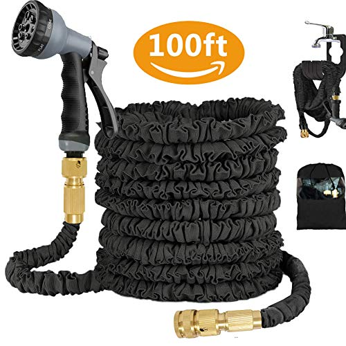 100FT Expandable Garden Water Hose with 8 Function Spray Gun, Triple Layer Latex Core & Extra Strength Fabric Flexible Water Pipe with 3/4', 1/2'' Solid Brass Fitting, Wall Holder & Storage Bag