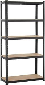Yaheetech Black 5-Shelf Steel Shelving Unit Storage Rack Adjustable Garage Shelves Utility Rack Display for Home Office Garage 71in Height, 1 Pack