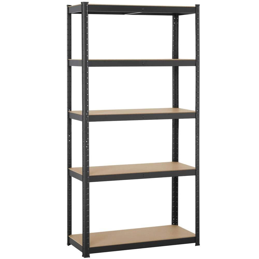 Yaheetech Black 5-Shelf Steel Shelving Unit Storage Rack Adjustable Garage Shelves Utility Rack Display for Home Office Garage 71in Height, 1 Pack by Yaheetech