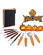 SunAurora Halloween Pompoen Snijwerk Set, 10 PCS Professional Pumpkin Carving Kit, Duurzame Pumpkin Carving Tools Set met Ritszakken voor Halloween,DIY