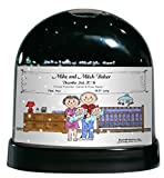 Personalized Friendly Folks Cartoon Caricature Snow Globe Gift: New Baby, Twins - Boys Great for baby shower gift, birth announcement, nursery décor, keepsake