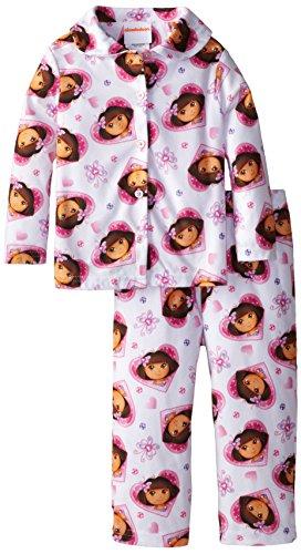 Dora the Explorer Little Girls' Hearts Coat Pajama Set, Multi, 3T