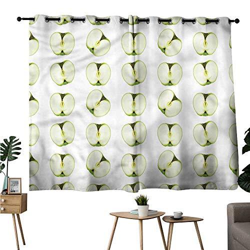 Gabriesl Room Darkening Curtains Grommet Curtain for Kitchen Window Apple,Orchard Produce Halves Room/Bedroom W96 x L72