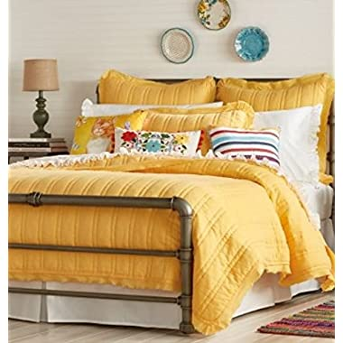 The Pioneer Woman Double Stitch Quilt King 104 x 92 , F/Q 90 x 90 , Red, Peacock Blue, Yellow (F/Q quilt 90 x 90 , Yellow)