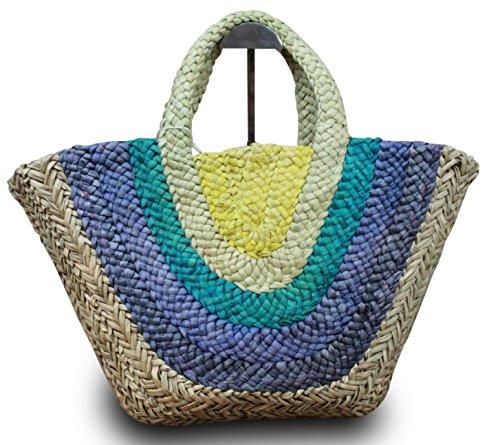 Bolsa de playa cesta Ibiza Shopper–Estrella Corazón playa cesta ibizatasche paja XL Azul
