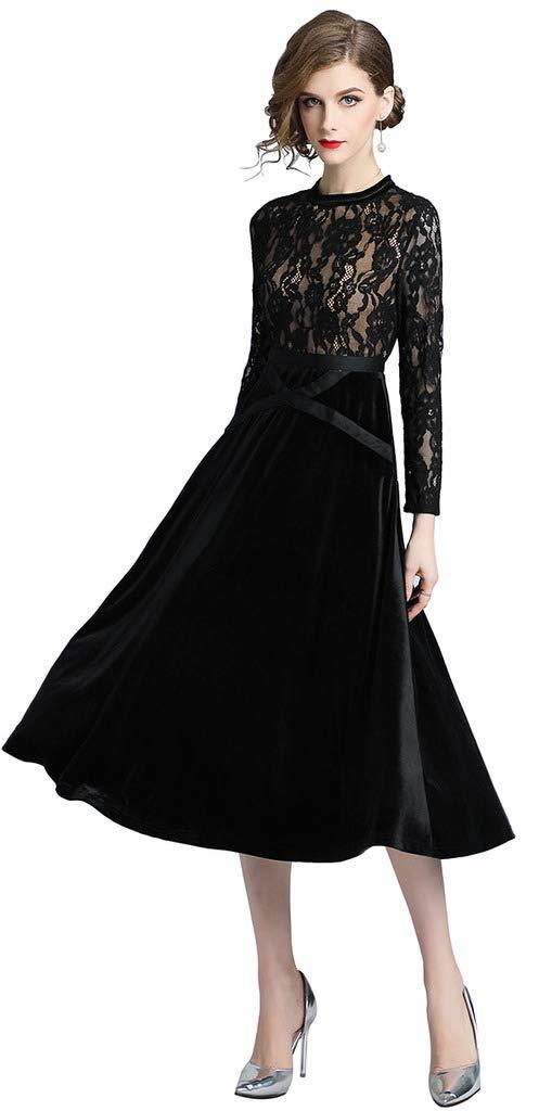 15594c9932b4 Ababalaya Women's Elegant Retro V-Neck Long Sleeve Lace Splicing Velvet  Runway Evening Dress,Black,Tag M = US Size 2