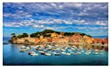 Italy Coast Sky Motorboat Clouds Sestri Levante Liguria Cities tourist souvenir Furniture & Decorations magnet fridge magnets