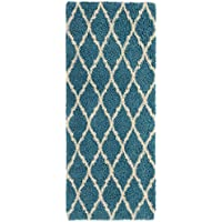 Ottomanson Ultimate Shaggy Collection Moroccan Trellis Design Contemporary Hallway & Kitchen Shag Runner Rugs, Turquiose Blue, 2'7' L X 8'0' W