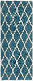 Ottomanson Ultimate Shaggy Collection Moroccan Trellis Design Contemporary Hallway & Kitchen Shag Runner Rugs, Turquiose Blue, 2'7''L X 8'0''W