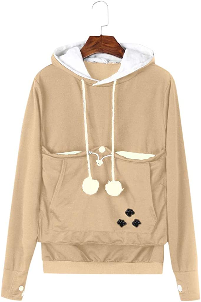 aihihe Hoodies Pet Holder Cat Dog Large Pouch Pullover Cat Printing Super Soft Kangaroo Pet Pouch Hooded Sweatshirt