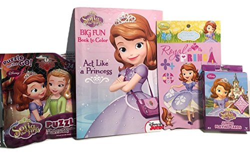 Birthday Gift For Kid's; Disney Princess In Training Sofia The First Activity Set; Jumbo Playing Cards Card Deck, Coloring and Activity Book, Stickers, 24-piece Jigsaw Puzzle; 4-pc