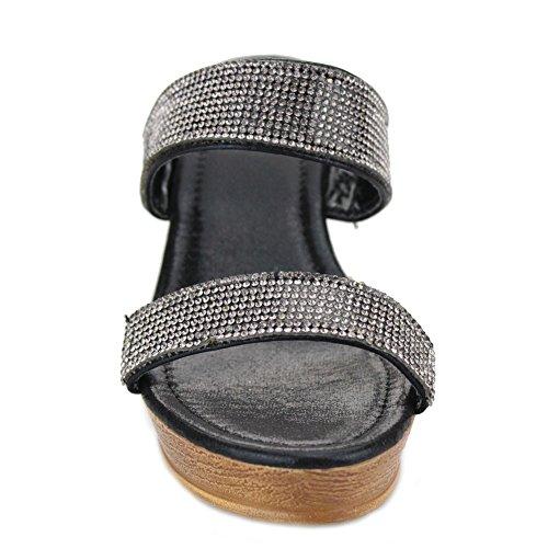 Champagne de de en Negro de tacón Resbalón Tamaño de el tarde mujeres cuña Negro los de la las de Aarz Diamante zapatos sandalia la ocasional señoras Oro Plata I6gTzznF