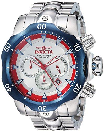Invicta Men's 'Venom' Quartz Stainless Steel Casual Watch, Color:Silver-Toned (Model: 25045)