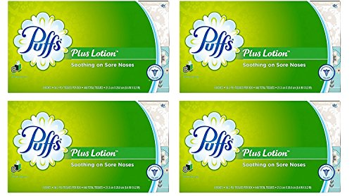 (Puffs Plus Lotion Facial Tissues, 4 Family Boxes, 124 Tissuesper)