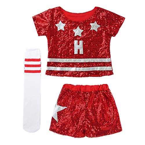 CHICTRY Kids Girls Cheerleading Uniform Outfits Cosplay Shiny Sequins Hip Hop Dance Costume Short Sleeve Red 12-14