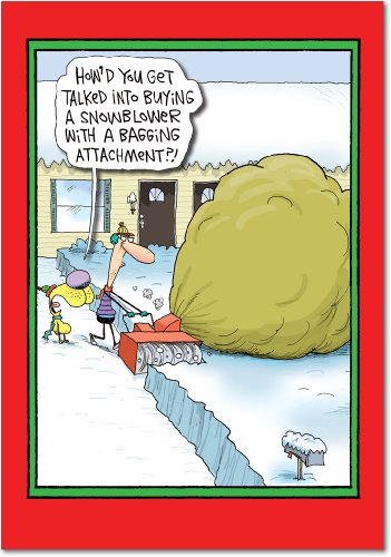 Snowblower Bagging Attachment - Set of 12 Merry Christmas Cards with Envelopes (4.63 x 6.75 Inch) - Dad and Husband Humor, Snow Removal Holiday and Xmas Stationery for Men - Cartoon Notecards B1877