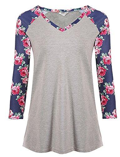 Women's Long Sleeve V Neck Loose Shirt Floral Printed Raglan Top Shirt (XL, Navy Blue - Cotton 3/4 Sleeve Ladies Shirt