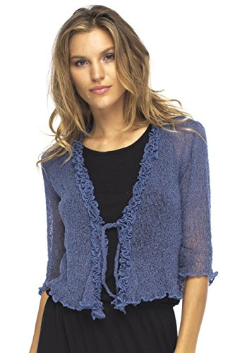 - Back From Bali Womens Sheer Shrug Cardigan Sweater Ruffle Lightweight Knit  Blue Jean One Size