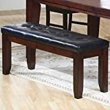 Kitchen Bench Coaster Bench with a Leather-Look Seat, 48-Inch, Dark Oak