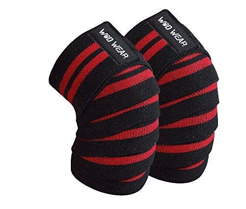WOD Wear Heavy Duty Knee Support Compression Wraps (Pair) Elastic Velcro for Weightlifting, Powerlifting, Crossfit, Fitness, Unisex, (Weight Lifting Knee Support)