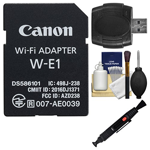 Canon W-E1 Wi-Fi Mobile Adapter for EOS 7D Mark II, EOS 5DS, EOS 5DS R Cameras with Card Reader + Cleaning Kit (Canon Wifi Adapter)