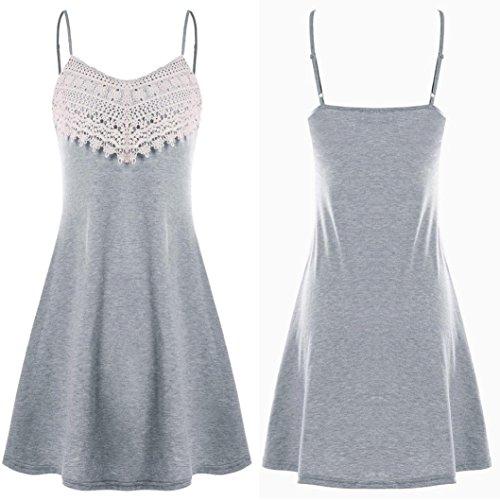 Dos Crochet La Robe Femmes Nu Mode Des Camisole Robe Mini Dentelle Gray Manches luoluoluo Robe Sans TwSpRYqp