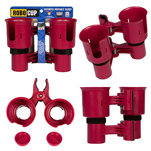 ROBOCUP, RED, Updated Version,Best Cup Holder for Drinks, Fishing Rod/Pole, Boat, Beach Chair/Golf Cart/Wheelchair/Walker/Drum Sticks/Microphone Stand ()